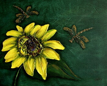 Sunflower with Dragonflies